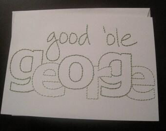 george washington birthday hand-embroidered card