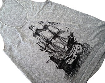 Womens Pirate Ship Tank Top - Nautical Boat Tri-Blend Tank - Available in sizes S, M, L, XL