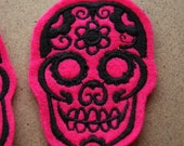 Day of the Dead Hot Pink Patches Pixiefashions Rockabilly Horror