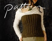PATTERN - Knitting Pattern for Women - Digital Download - Knit Ribbed Bustier - Women's Top - Stretch - Chunky Knit - PDF