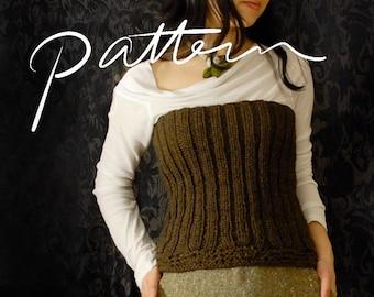 PATTERN - Knitting Pattern for Women - Digital Download - Knit Ribbed Bustier - Women's Top - Stretch - Chunky Knit - PDF