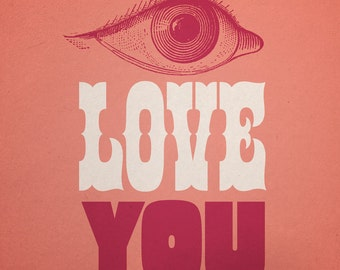 Valentine's Day Print - I LOVE YOU - Vintage Beatles Inspired 1960s Graphics - 8 x 10