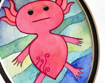 Axolotl Original Watercolor by Megan Noel