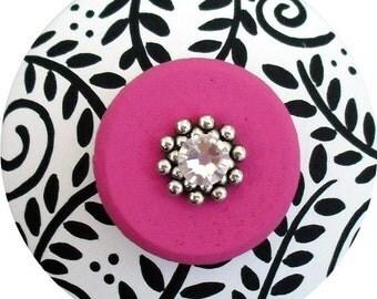Back White Hot Pink Floral Swarovski Crystal Jeweled Hand Painted Wood Decorative Dresser Furniture Cabinet Home Decor Art Drawer Pull Knobs