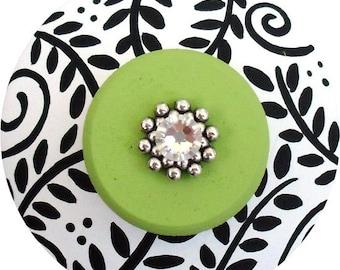 Black White Apple Green Floral Swarovski Crystal Jeweled Hand Painted Wood Decorative Dresser Furniture  Drawer Knobs and Pulls