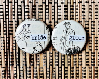 bride and groom-1 Inch Pinback Buttons for a Bride and Groom