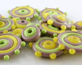 Violet Citrus - Handmade Artisan Lampwork Glass Disc Beads 25mmx5mm and 12mmx5mm - Yellow, Green, Violet - SRA (Set of 16 Beads)