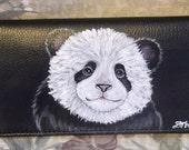 Panda Bear Custom Painted Leather Checkbook Cover