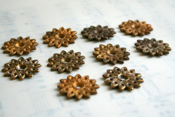 Spikey Flower Vintage Brass Jewelry Finding- Package of 10
