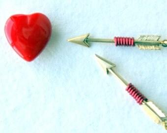 Red Arrow Earrings - wire wrapped brass arrow earrings -  Cupid's Arrow Earrings - Arrow Jewelry - Arrow Earrings - bohemian - boho chic