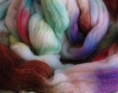 SIGNS OF SPRING Hand Dyed Polwarth Wool Tussah Silk Blend Combed Top Roving Spinning Fiber