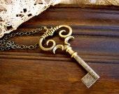 Vintage Key Necklace - Steampunk Wedding Ornate Brass and Steel Skeleton Key Pendant - Bridesmaid Jewelry