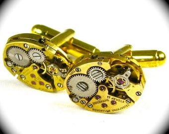 Steampunk Cuff Links Gold Clockwork Petite Ovals with Real Ruby Jewels By Nouveau Motley