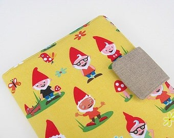 Nook Simple Touch Cover Kindle Fire Cover iPad Mini Cover Kobo Cover Case Traveling Garden Gnome Yellow eReader