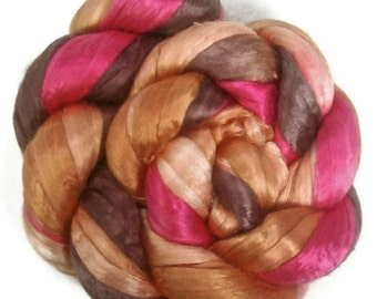 Handpainted Bombyx Silk Roving - 2 oz. PERSIMMON - Spinning Fiber