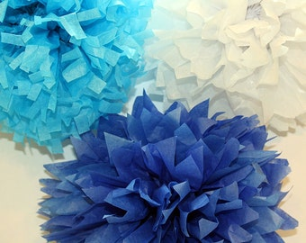 Mexican Tissue Flowers Pom Poms Blue Baby Shower Birthday Decoration Photo Props Nursery Decor -  Set of 20