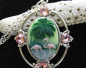 Pink Flamingo and Palm Tree Cameo Necklace with Crystal Accents