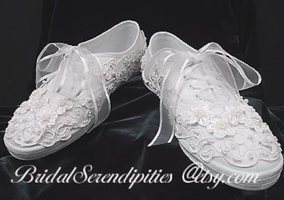 wedding tennis shoes bridal tennis shoes sneakers satin and pearl beaded 1194