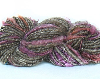 Handspun Yarn handcarded sparkly Merino alpaca silk Kidmohair