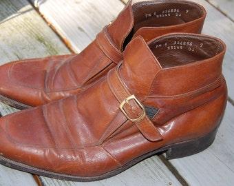 Vintage 60s 70s Florsheim Imperial Brown Buckle Strap Beatles Boots Mens Size 7.5