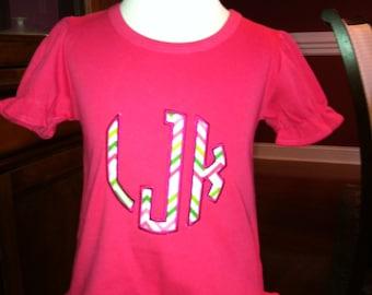 Custom Boutique Circle Monogram Appliqué  shirt