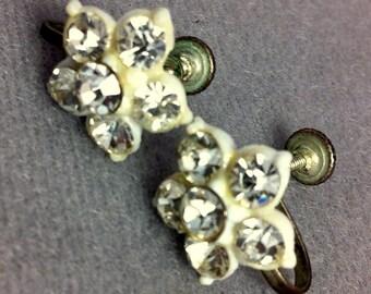 Vintage Rhinestone Flower Screw Back Earrings