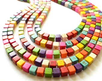 Cubist - Multi Color Howlite Statement Necklace