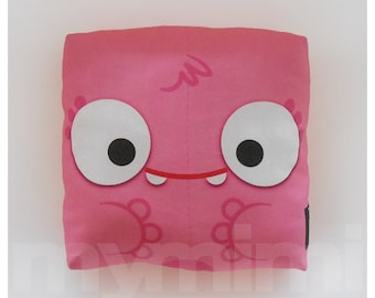 Pink Monster, Pink Pillow, Monster Pillow, Stuffed Toy, Decorative Pillow, Childrens Pillow, Girls Monster, Not so Scary Halloween, 7 x 7""