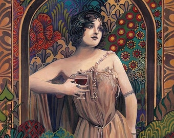 Meditrina Roman Goddess of Wine ACEO Print Altar Art Pagan Mythology Bohemian Gypsy Goddess Art
