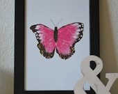 Butterfly Kisses 12x18 Art Poster in Pink