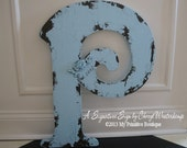Large WOODEN LETTER with ROSE Detail and Personalized/  Any Color / Any Letter / Shabby Chic Signs / Romantic Rose Design / 24 inches tall