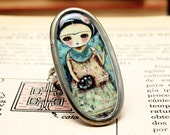 Frida The Artist - Original Handmade Big Brass Plated Adjustable Oval Metal Ring Jewelry by Danita Art