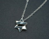 Petite Jazzy Silver Magen David - Jewish Star - Star of David - 18 inch chain - Free US shipping