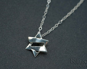 Petite Jazzy Silver Magen David - Jewish Star - Star of David - 18 inch chain - Free US shipping