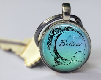 Believe - Mermaid Pendant, Necklace or Key Chain - Choice of Silver, Broze, Copper or Black