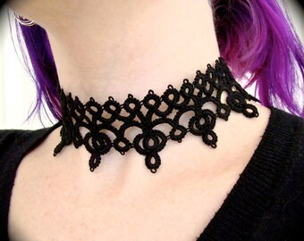 Tatted Lace Choker Necklace - Diadem