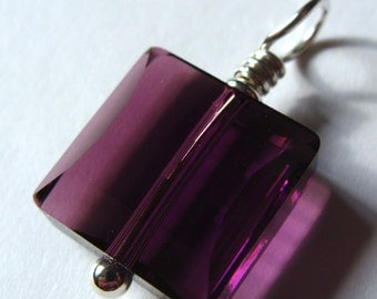 Square Amethyst Crystal Swarovski Crystal Pendant Wire Wrapped in Sterling Silver