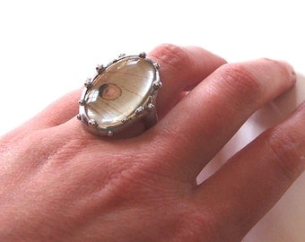 RESERVED - Luna Moth Ring - Real Butterfly Jewelry - Custom Made in Size 9