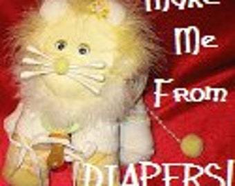 Instructions for a large lion made from DIAPERS. Gurrrtrude.  How to make a diaper lion. GR8 for baby shower/gift