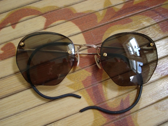 Glasses Frames With Cable Temples : Vintage 1930s Wire Glasses Rimless Cable Temples by ...