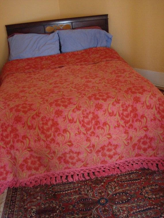 Vintage 1960s Paisley Bedspread Coverlet Pink Orange Tapestry