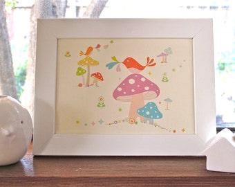 Framed Birdies & Mushrooms Print