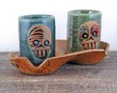 Skully Shot Glasses for Two on Tray - Double Shot - Skull Skeleton - Day of the Dead - Stoneware Handmade Pottery