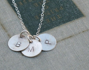 Personalized Silver Initial Necklace- customizable with 1 to 6 stamped discs