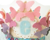 Ombre Butterfly Birthday Crown - Pinks Purples Blues - Felt Birthday Crown for Girls
