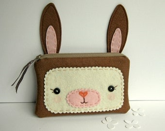 Brown Bunny Zipper Pouch