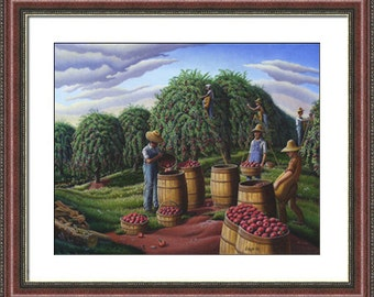 Appalachia Farm Folk Art Landscape, Autumn Apple Harvest Framed Matted Print, Country Americana Decor, Amish, Appalachian folkart