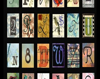 Alphabet Letters and Numbers Domino No. 1 - 1x2 Inch - Digital Collage Sheet - Instant Download
