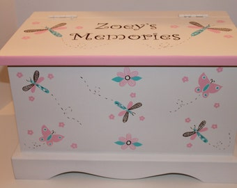 Baby Keepsake chest memory box personalized - Pink & Turquoise Country Critters baby gift hand painted