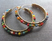 Colorful Beaded Brass Hoops with trade beads